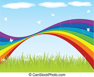 Springtime - Spring backgraound with rainbow and butterflies...