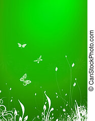 springtime - spring drawing on green background