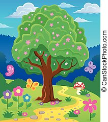 Springtime tree topic image 3 - eps10 vector illustration.