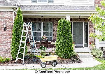 Springtime trimming of Arborvitae or ornamental evergreen...