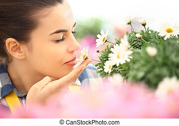 springtime, woman in the garden of daisies flowers