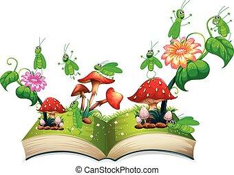 sprinkhaan, boek, paddenstoel