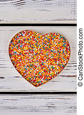 Sprinkle dots, heart shaped box.