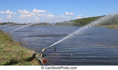 Sprinkle at lake with rainbow