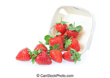 Sprinkled strawberry from the basket. On a white background.
