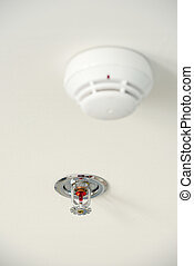 Sprinkler and smoke detector on the ceiling