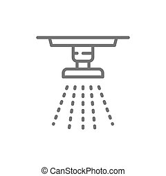 Sprinkler, fire system, extinguisher line icon.