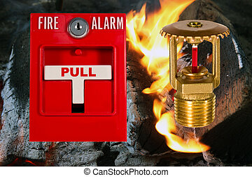 sprinkler head and pull station - fire alarm pull station...