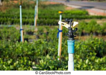 sprinkler Irrigation System Close Up. Water spraying irrigation system being used in flower garden.