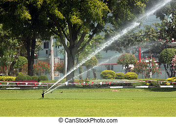 Sprinkler was in the lawn water injection.