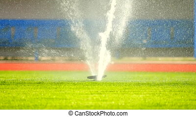 Sprinkler Watering a Sports Field. Working sprinklers with...