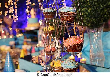 sprinkles., 리본, 컵케이크, 선물, 생일, 아름다운