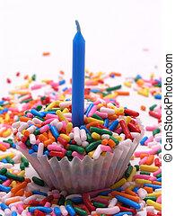 Sprinkles Cupcake Blue Candle 2