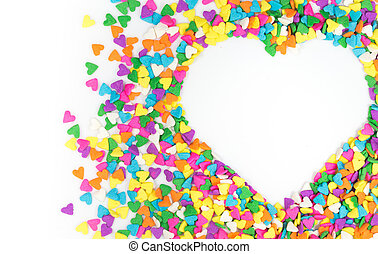 Sprinkles - Heart shaped frame card made from colored...