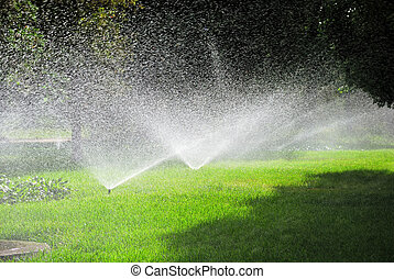Sprinkling plants - This is sprinkling machine in the garden