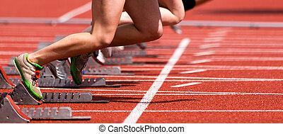 sprint, comienzo, en, vestigio campo
