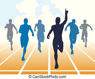 Sprint - Editable vector illustration of men finishing a ...