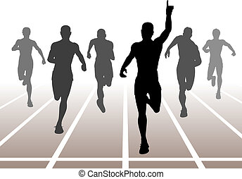 Editable vector illustration of men finishing a sprint race