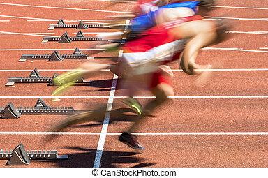 sprint, feld, spur, start