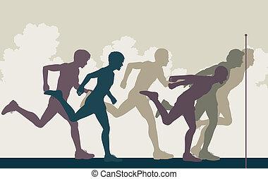 Sprint finish - Editable vector illustration of a close...
