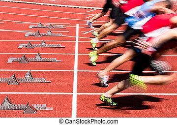 sprint, início, em, trilha campo