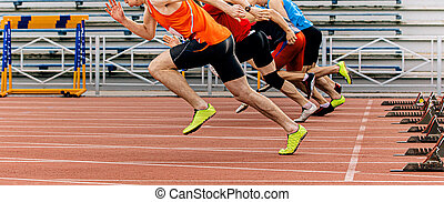 sprint, metros, comienzo, hombres, corra, corredores, 100