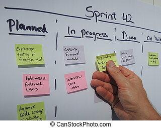 sprint, scrum, aktualisierung, plan, alltaegliches