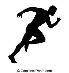 sprint, sprinting, corredor, comienzos, rápido, silhouette., vector, start., running., hombre, run.