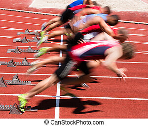 sprint, start, in, fährte feld