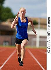 Sprint - A teen athlete sprinting towards the finish line.