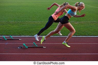 sprinter, abgang, beginnen, frau, blöcke