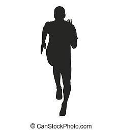 sprinter, corriente, vector, figura, silhouette.