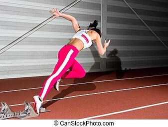 sprinter, frau