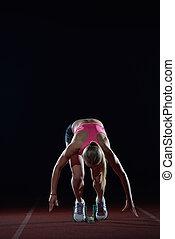 sprinter, frau, blöcke, beginnen, abgang