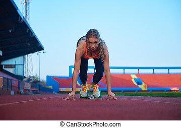 sprinter, mujer, bloques, de arranque, salida