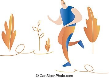 sprinter., nature, courant, men., mâle, dessin animé