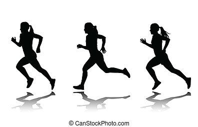 sprinter, silhouette, femme