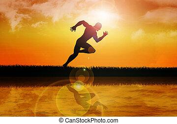 Sprinter - Silhouette of a sprinter at sunset