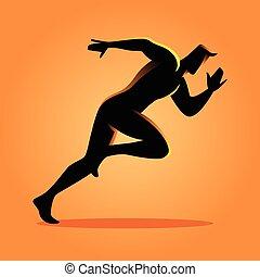 sprinter, silueta, ilustração