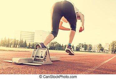 sprinter, starting., seitenansicht