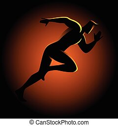sprinter, sylwetka, ilustracja