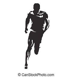 sprinting, corredor, atleta, silueta, vetorial, vista dianteira