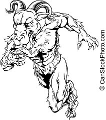 Sprinting ram character - Black and white illustration of a...