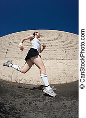 sprinty, lina., kobieta, ku, koniec