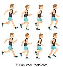 sprite, secuencia, atlético, tracksuit, corriente, ilustración, marco, vector, animación, hombre
