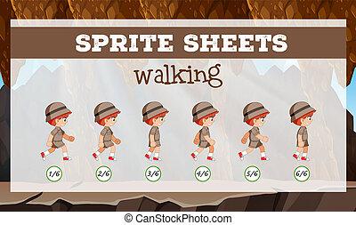 Sprite sheet boy walking illustration
