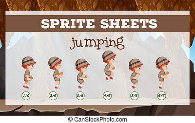 Sprite sheet jumping template illustration