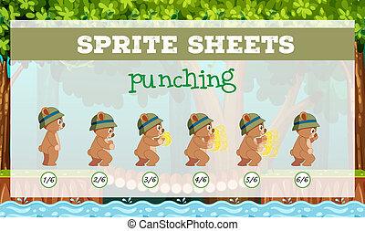 Sprite sheet punching template illustration