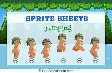 Sprite Sheets bear jumping illustration
