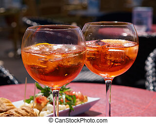 Spritz aperitif in Italy - Spritz aperitif served with ...